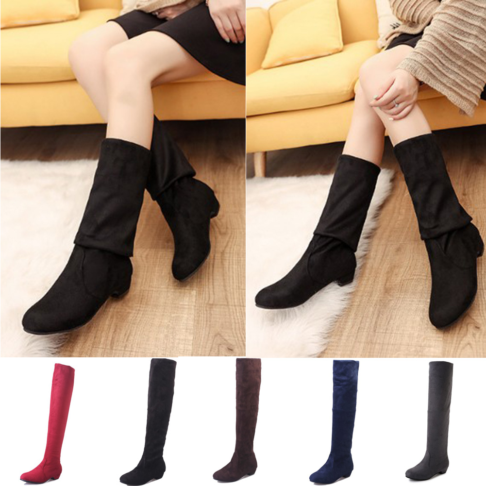 Thigh High Boots Female Winter Boots Women Over the Knee Boots black Flat Stretch Sexy Fashion Shoes knee high boots women shoesThigh High Boots Female Winter Boots Women Over the Knee Boots black Flat Stretch Sexy Fashion Shoes knee high boots women shoes