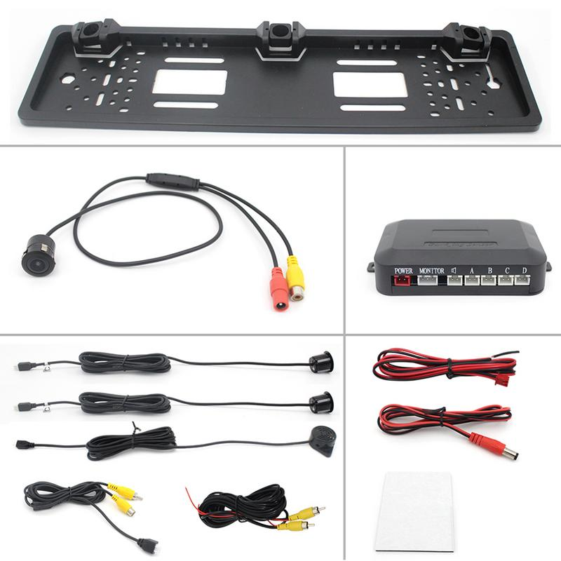 Car Rearview System European License Plate Video Parking Sensor Reversing Radar With HD Rear View Backup
