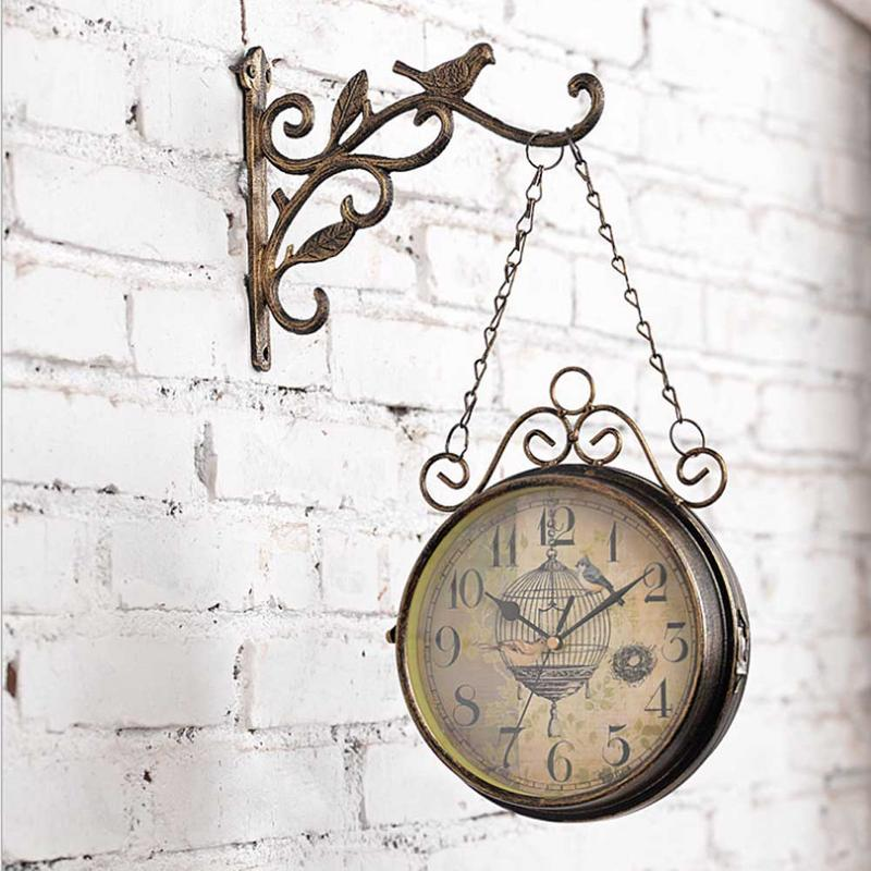 Horloge murale innovante-rétro Double face Simple silencieux Quartz horloge en fer forgé horloge ronde pour la décoration de salon - 2