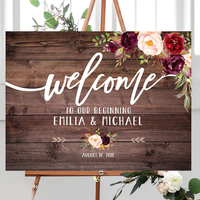 Welcome to Our Beginning Sign Rustic Welcome Wedding Sign Welcome To Our Wedding Sign Horizontal Landscape Printable Burgundy