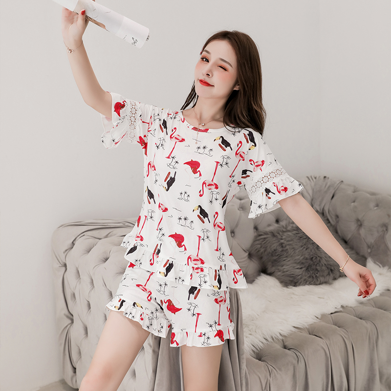New   Pajamas   for Women Short Sleeved Summer Cotton   Pajama     Sets   Women Sleepwear for Print Loose Leisure Young Girl Outwear Shirt