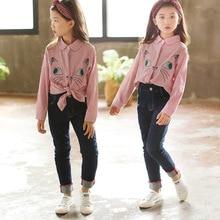 2018 Girls New Style Striped Long-Sleeve Shirt han ban Cartoon Coat a Generation of Fat