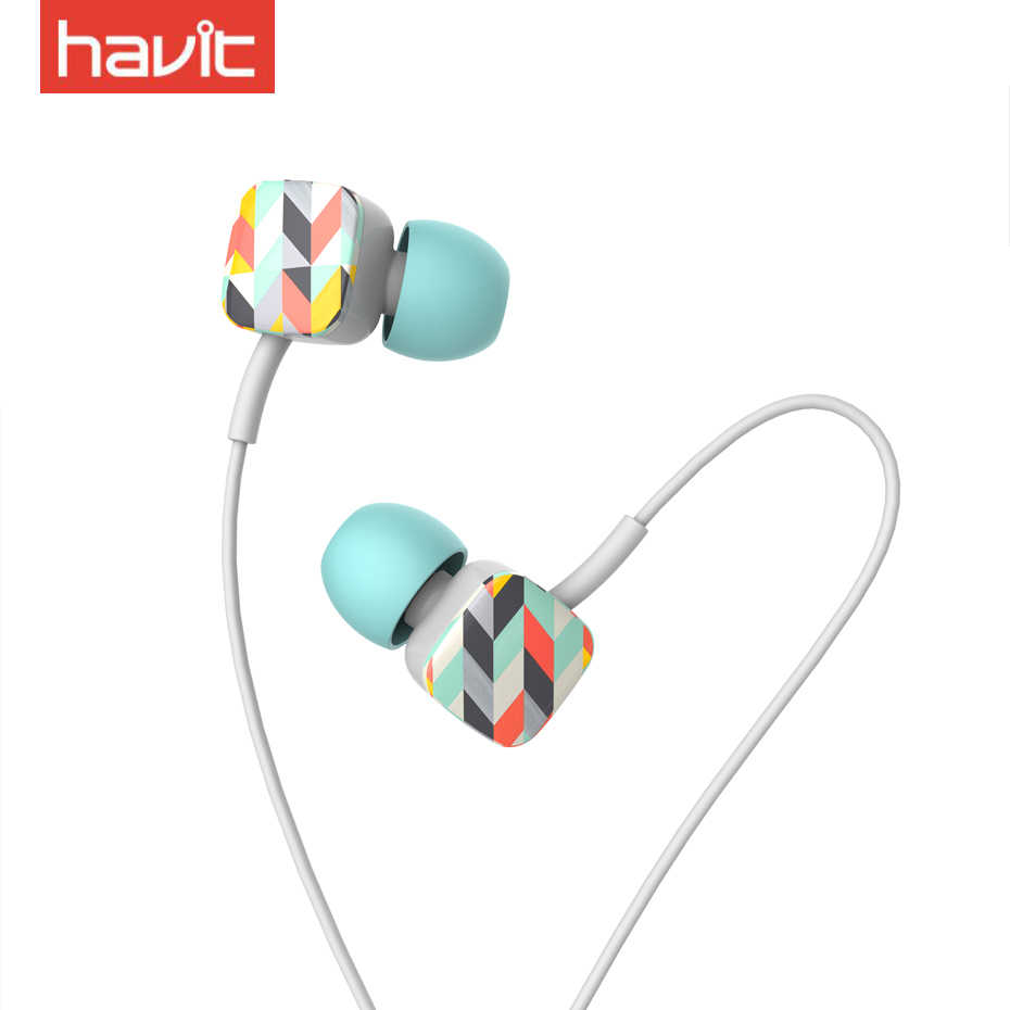havit new color 3 5mm wired headset hifi portable sports noise reduction earphone with mic pop  [ 930 x 930 Pixel ]