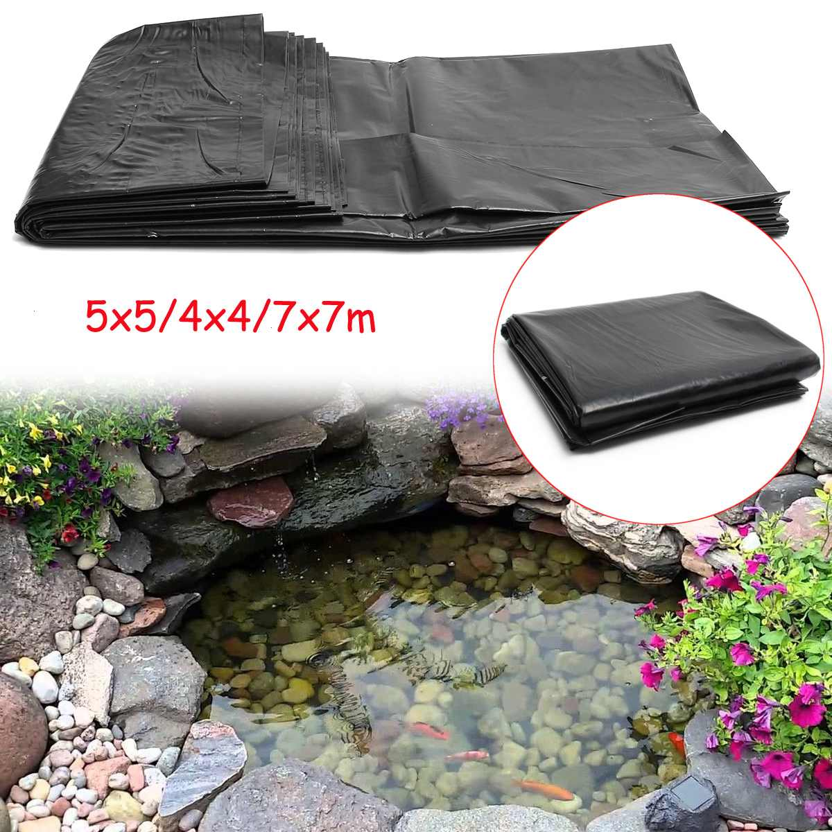 7x7m - 5x5m - 4x4m HDPE Fish Pond Liner Garden Pond Landscaping Pool Reinforced Thick Heavy Duty Wat