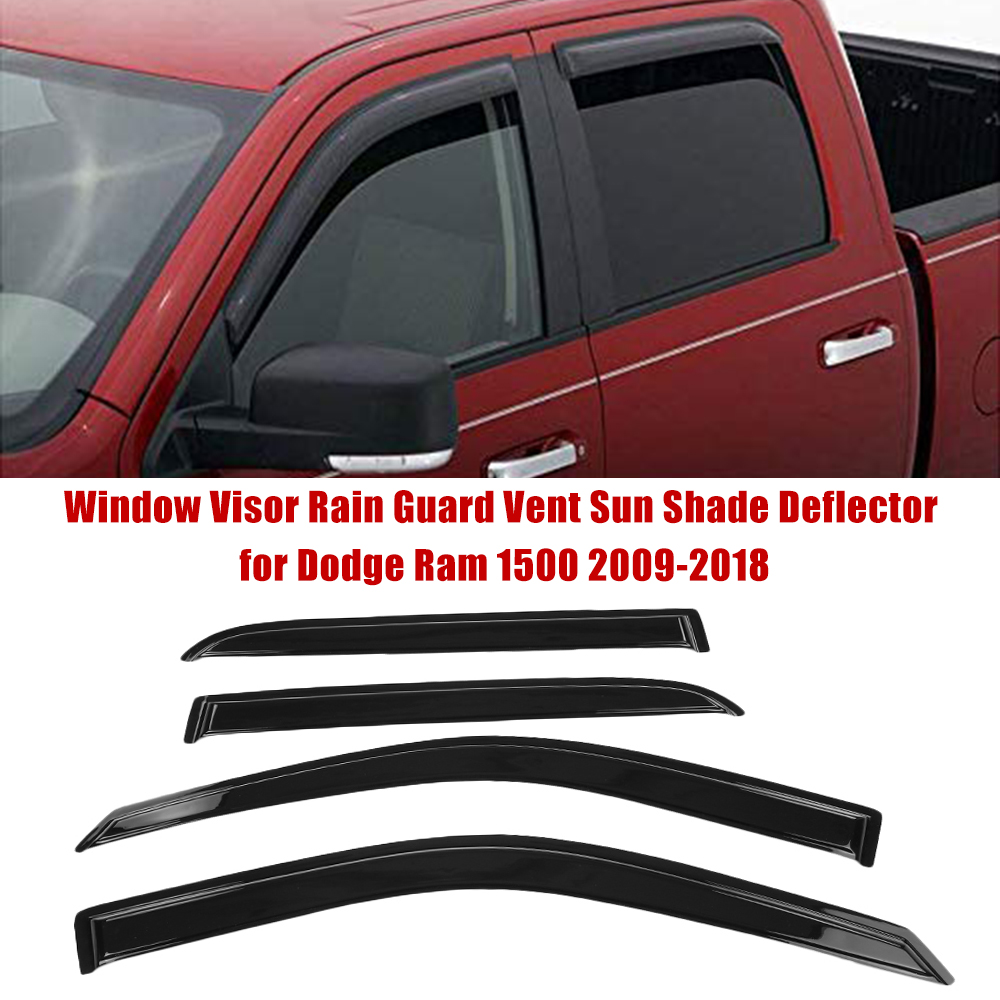 Window Visor Rain Guard Vent Sun Shade Deflector for Dodge Ram 1500 2009 2018 Car Styling