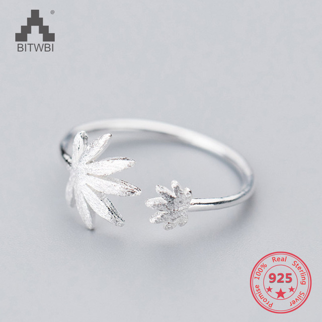 Factory Price 100% 925 Sterling Silver Fashion Concise Maple Leaf Open Ring Fine Jewelry for Female