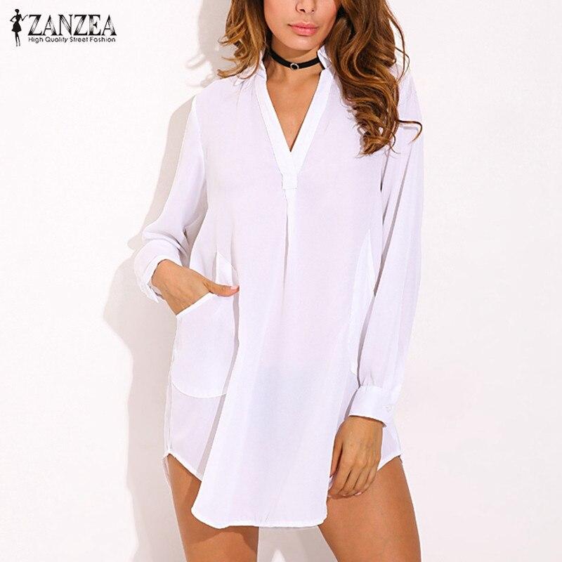 ZANZEA 7XL летний больших размеров женское мини-платье с карманами повседневные однотонные свободные длинные рукава сексуальные асимметричные...