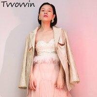 TVVOVVIN 2019 New Spring Lapel Long Sleeve Lurex Jacquard Retro Hollow Out Loose Jacket Women Coat Tide E694