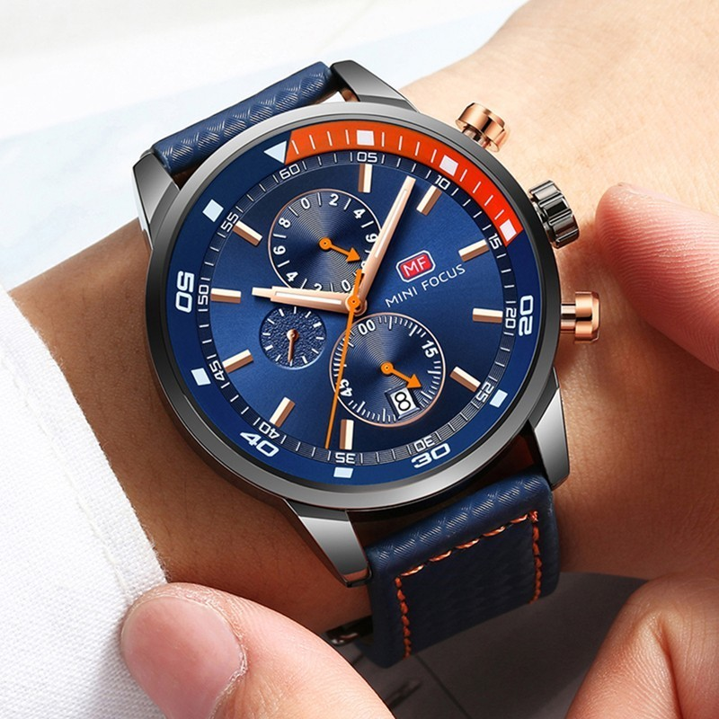 MINI FOCUS Watches Mens Luxury Brand Sport Watch Men Fashion Leather Wrist Watches Black Blue Coffee Male Clock For Gentleman