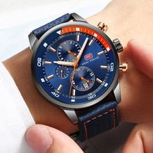 MINI FOCUS Watches Mens Luxury Brand Sport Watch Men Fashion Leather Wrist Black Blue Coffee Male Clock For Gentleman