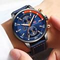 MINI FOKUS Uhren Herren Luxus Marke Sport Uhr Männer Mode Leder Handgelenk Uhren Schwarz Blau Kaffee Männlichen Uhr Für Gentleman-in Quarz-Uhren aus Uhren bei
