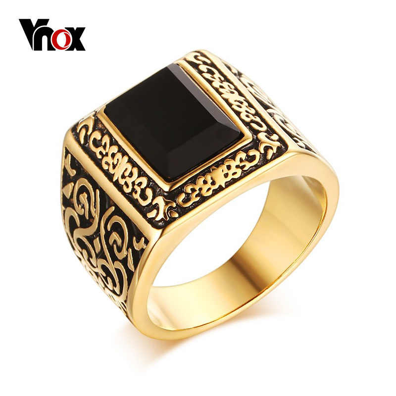 Vnox Vintage Men Engagement Rings Stainless Steel Black Stone Personalized Wedding Men Jewelry