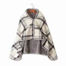 Cálido y acogedor Vintage peluche jersey de lana de vestir chal manta Botón  de las mujeres Poncho sudadera chaqueta a cuadros c2f517720f91
