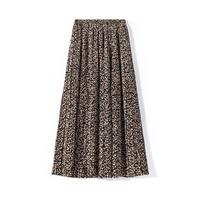 Long Skirt Top Sale None Lolita Women Chiffon Skirt Empire Waist Mid calf Length Print A line Spring 2019 Casual