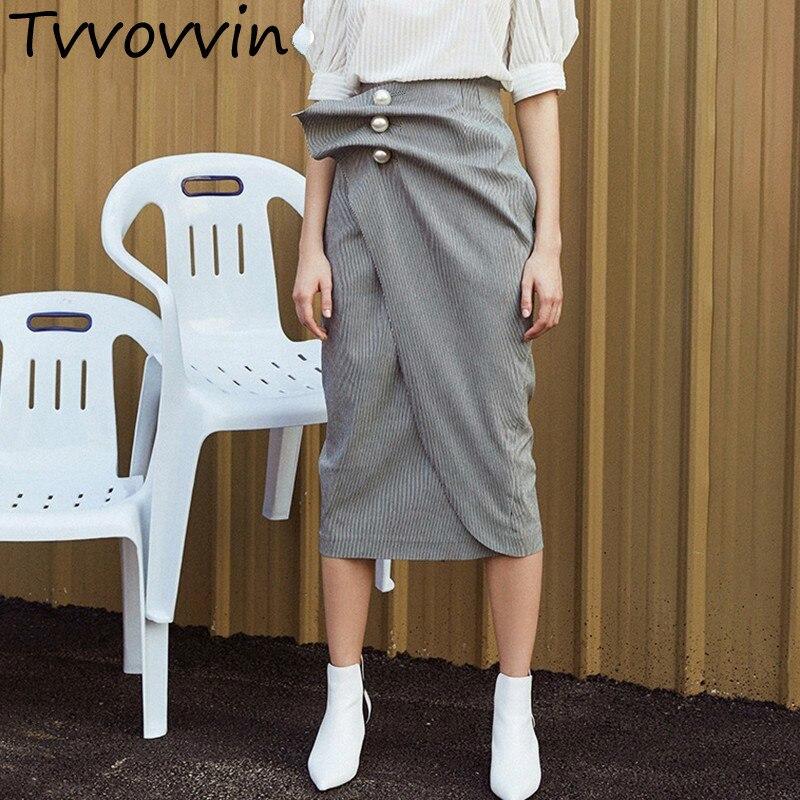 Perles jupe pour femmes ruché Patchwork rayé taille haute irrégulière Long crayon jupes été 2019 mode élégant L261