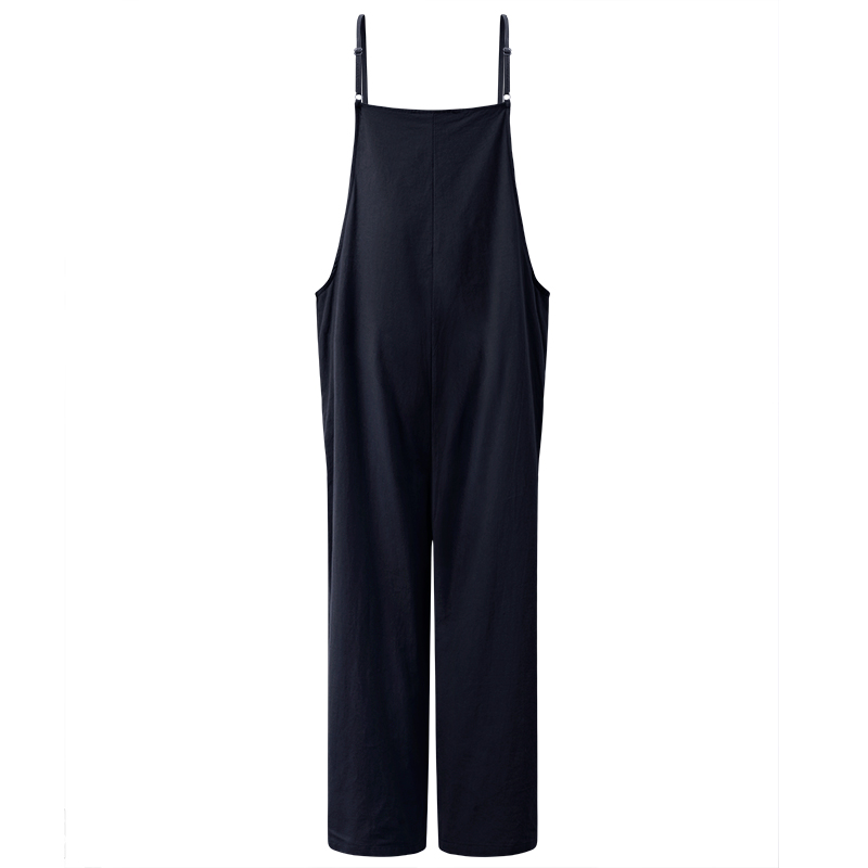 2019 New Summer Women Casual Solid Strap Wide Leg Pants Pockets Romper Dunveralls Loosegaree Bib O Cotton Linen Jumpsuits in Jumpsuits from Women 39 s Clothing