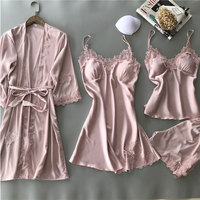 Women Sexy Pajamas 4 Pieces Satin Sleepwear Imitation Silk Home Wear Home Clothing Lace Sleep Lounge Pyjama with Chest Pads