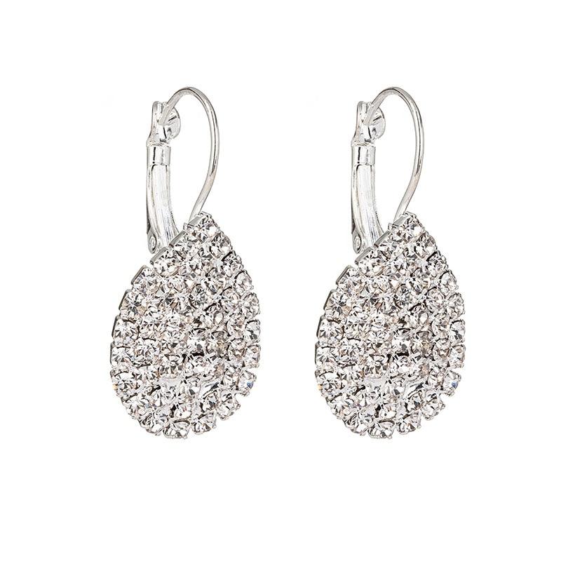 Gold silver Color Huggies Earrings Small Crystal Rhinestone water drop Earrings Women