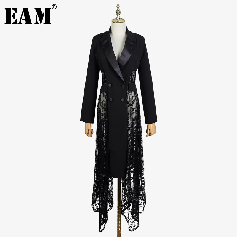 [EAM] 2019 New Spring Winter Lapel Long Sleeve Black Loose Hollow Out Lace Irregular Hem Windbreaker Women   Trench   Fashion JL965