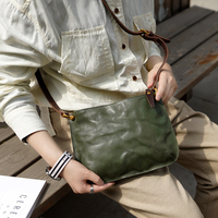 Literature Genuine Leather retro female bag square bag vegetable tanned skin small bag tree cream leather art shoulder bag