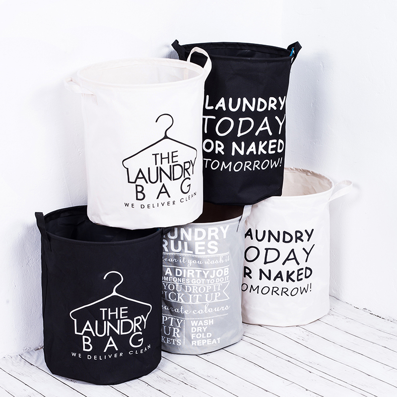Waterproof Foldable Fabric Laundry Basket With Handles Storage Bin Home Bathroom Organizer Nursery Storage Dirty Laundry