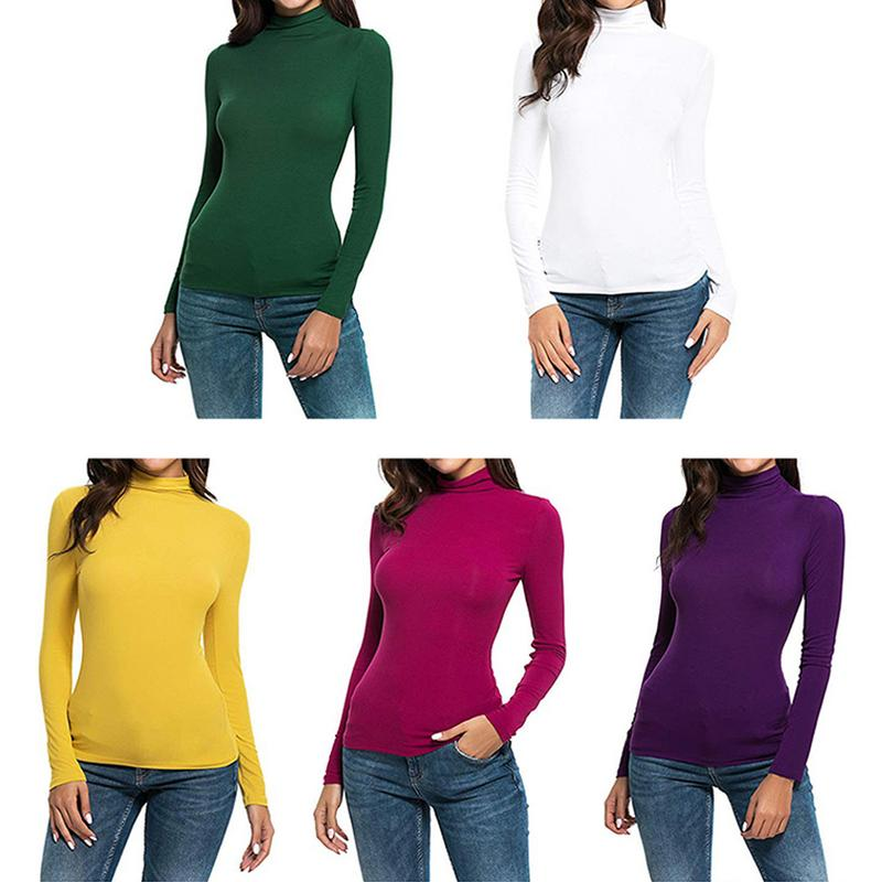 Classic Fashion Women's Long-sleeved Round Neck Casual Slim Tight High-neck Stretch Comfortable T-shirt