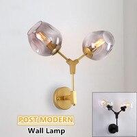 Dar ouro/preto fixado na parede da lâmpada pós moderno feijão mágico dupla cabeça ramo globo de vidro luz parede do hotel cafe arte deco conduziu a arandela