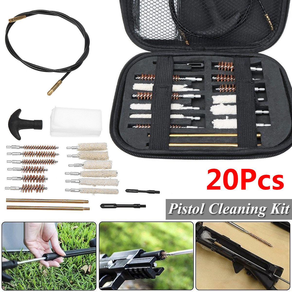20pcs/Set Pistol Cleaning Kit Portable Rifle Brushes for Size 22 357 38 40 44 45 9mm Outdoor Clean Tool with Carrying Case image