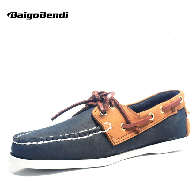 Hot Sale!! Boat Shoes Men Genuine Leather Loafers Mixed Colors Lace Up Driving Car Shoes Leisure Man Casual Shoes Size 11 12
