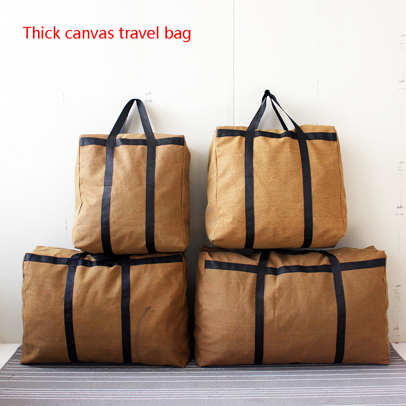 Thick Wear-resistant Super Large Capacity Canvas Travel Bag Moving Home Running Baggage Clothes Quilt Finishing Bag Woven Bag