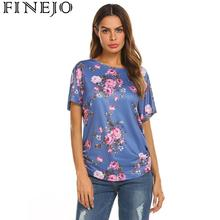 Women Casual O-Neck Short Sleeve Floral Printed Summer T-shirt Tops