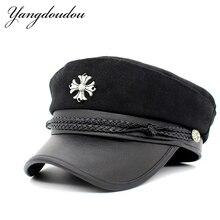 Модная шляпа в стиле милитари Кепка s для женщин винтажный топ на плоской подошве женская темно-синяя кепка крестоносца с плетеным украшение из каната Кепка Gorras горячая распродажа