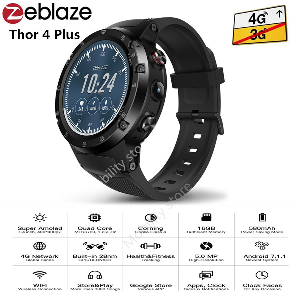 Zeblaze THOR 4 Plus 4G Smartwatch Phone 1.4 Inch Android 7.1 MTK6739 Quad Core Smart Watch 1GB 16GB 5MP BT4.0 Camera Smartwatch zeblaze thor smartwatch phone 4 4g lte gps android 7 0 mtk6737 quad core 1gb ram 16gb rom 5 0mp camera 4g 3g 2g watch phone