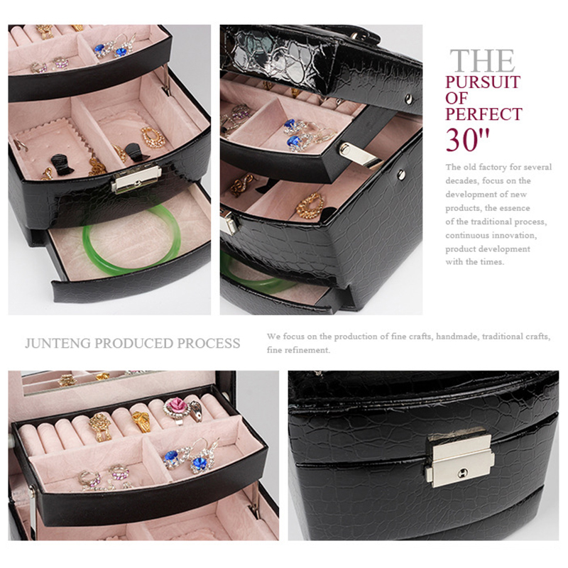 Image 4 - Automatic Leather Jewelry Box Three layer Storage Box For Women Earring Ring Cosmetic Organizer Casket For Decorations-in Jewelry Packaging & Display from Jewelry & Accessories