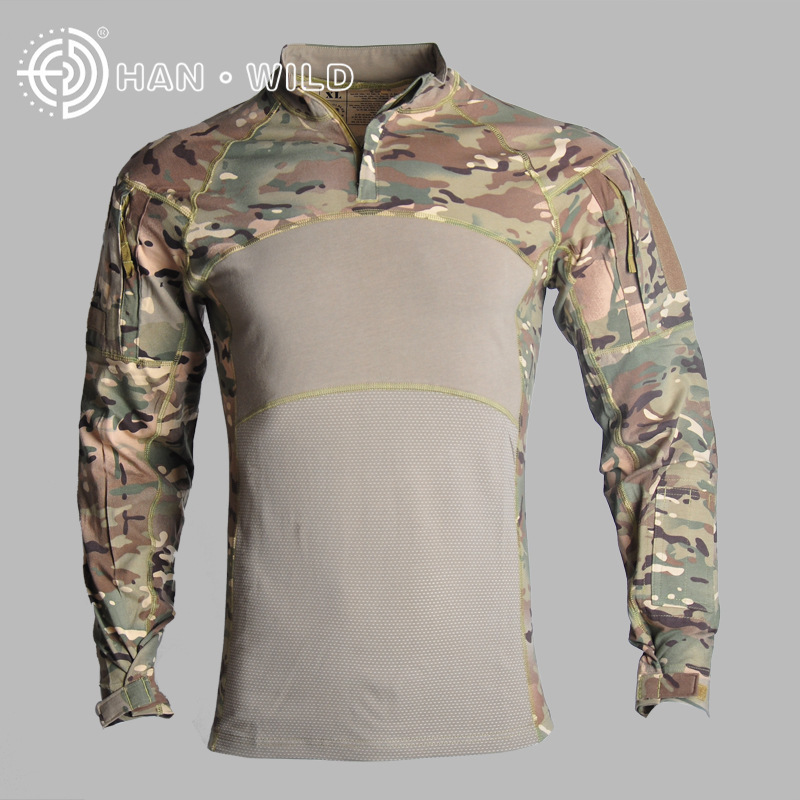 New Outdoor Camouflage tactical Hot t shirt long mens sports suits Cotton 2019 Climb 100% breathable ACU CP tactical jackets - 2