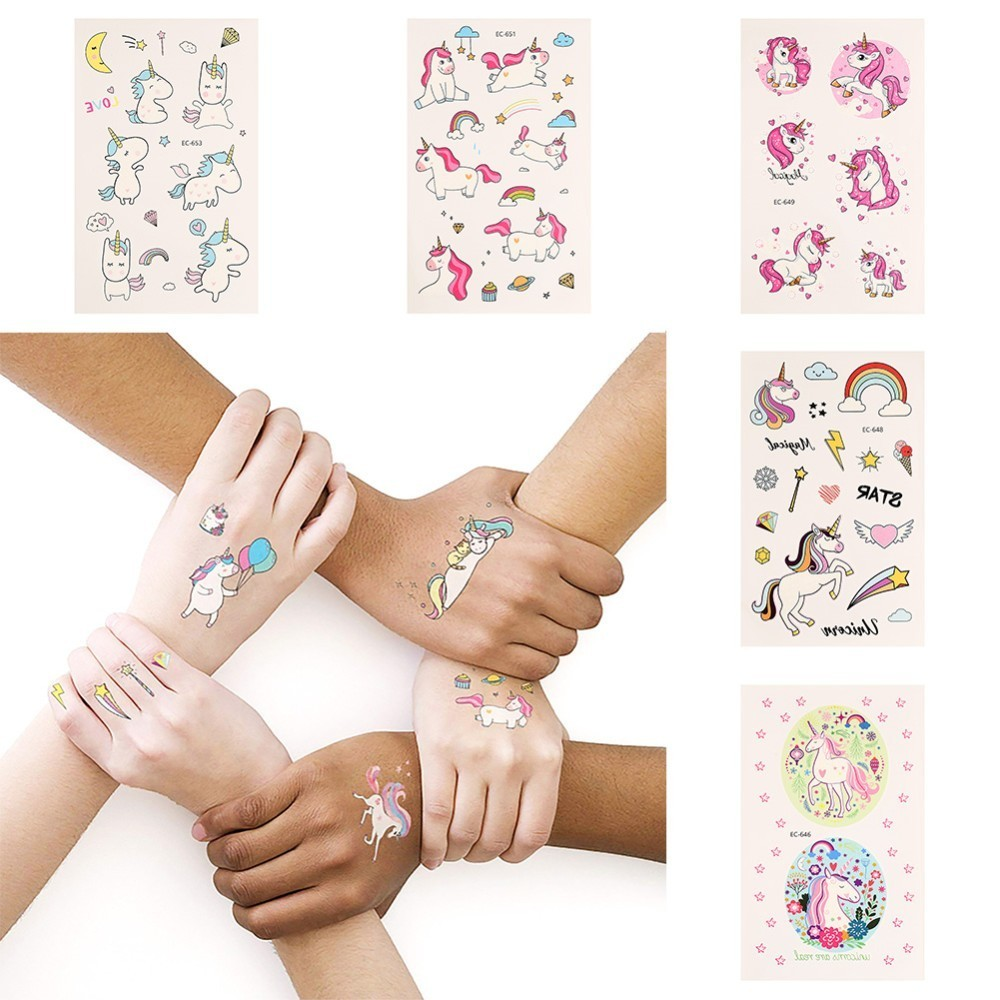 2PCS Colorful Cute Unicorn Temporary Tattoo Sticker Rainbow Cloud Star Moon Diamond Waterproof Decals Body Art Tattoo Sticker