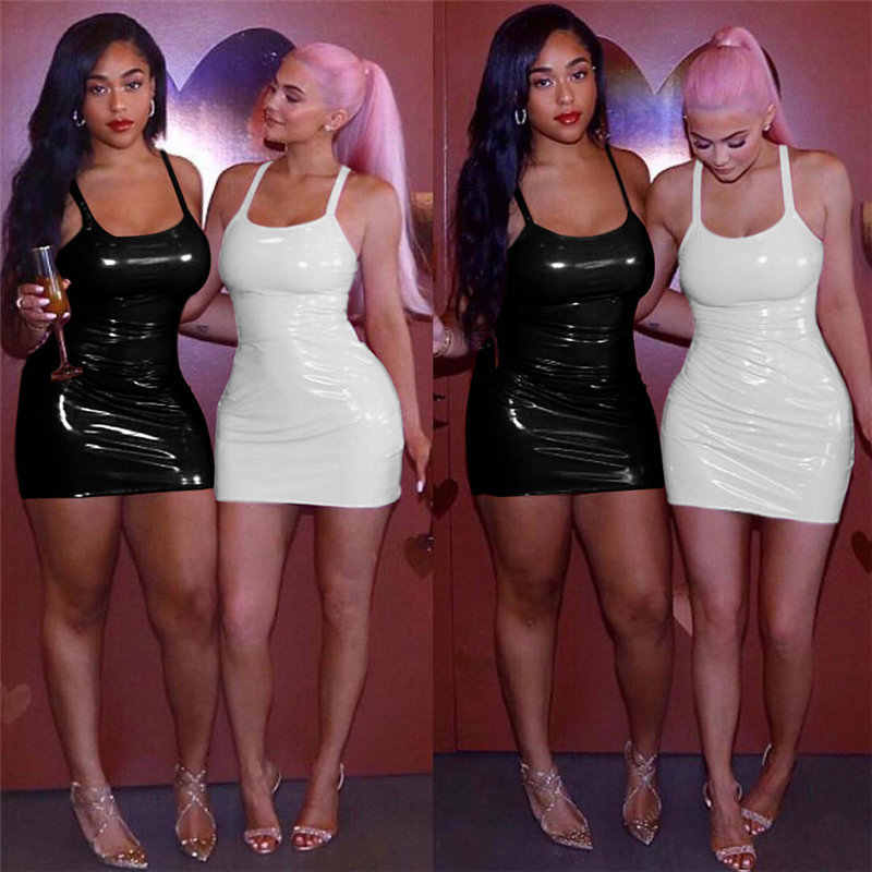c39a0bd0a3c ... Tobinoone Kylie Jenner Latex Dress Sexy Strapless PU Leather Club Dress  Bodycon Rubber Mini Party Dress