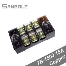 цена на Dual Row Copper TB-1503 Strip Screw Terminal Block 15A 600V 3P Fixed Wiring Board wire connector 0.5-1.5mm2 (10PCS)