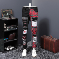 Europe Station Autumn And Winter New Pattern Black Split Joint Holes Patch Jeans Male Beggar Personality PUNK Long Pants Trend