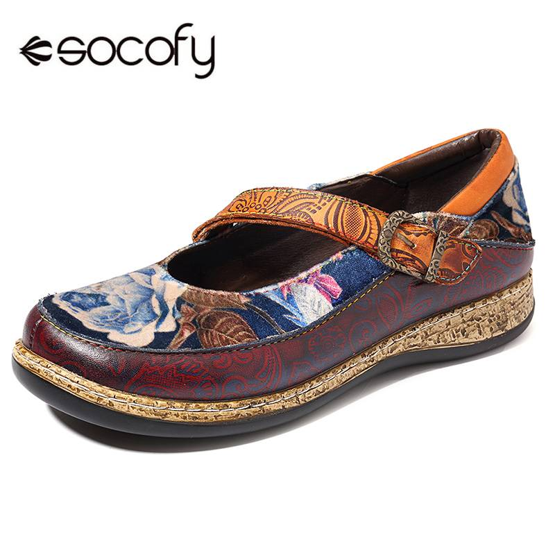 SOCOFY Retro Genuine   Leather   Splicing Flats Shoes Women Round Toe Hook Loop   Suede   Floral Pattern Flats Shoes Slip On Casual Flat
