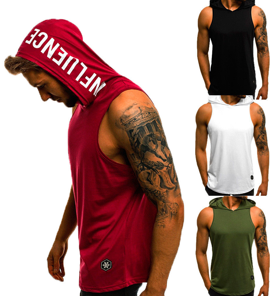 Fashion Summer Mens Sleeveless Hoodie T-Shirts Muscle Sweatshirt Cool Hoody Tops GYM Sport Slim Fitness Hooded Sportswer Tees