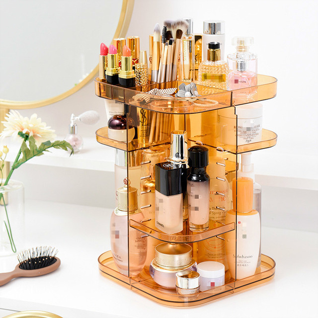 Us 28 83 38 Off 360 Rotating Cosmetic Storage Makeup Organizer Large Capacity Skin Care Products Brush Lipstick Display Stand Holder Rack In Makeup