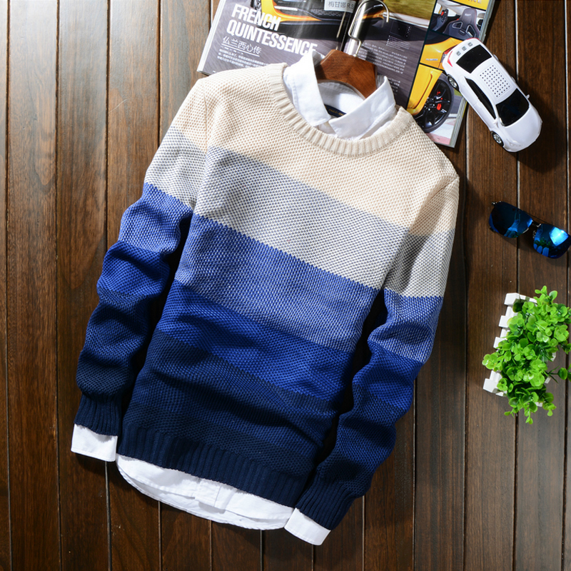 2019 Autumn Winter Wool Striped Sweater Mens Brand Casual Blue Male Sweater O-Neck Slim Fit Knitting Men Sweaters Pullovers 50