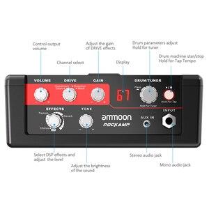 Image 3 - Ammoon POCKAMP مكبر صوت الجيتار المدمج في متعددة الآثار 80 إيقاعات طبل دعم موالف وظيفة تيرة الحنفية مع محول الطاقة