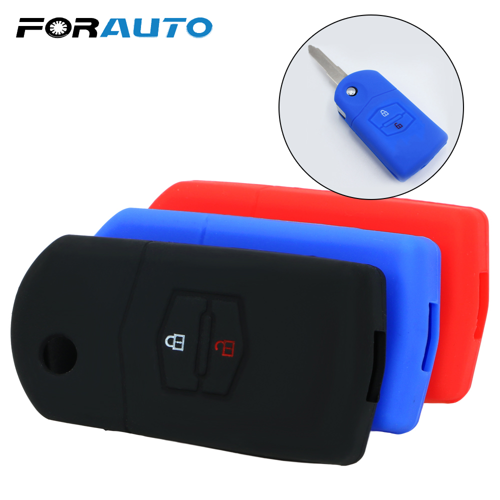 FORAUTO Car Key Case Cover Key Holder For Mazda 3 2 6 2003 2004 2005 2006 2007 2008 2009 2010 2011 2012 2013 2 Buttons image