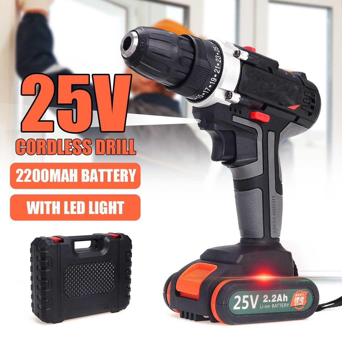 25 V 2 vitesses LED sans fil tournevis électrique Rechargeable 1 ou 2 Batteries Li-ion 3/8 ''perceuse à percussion pilote installer des outils électriques