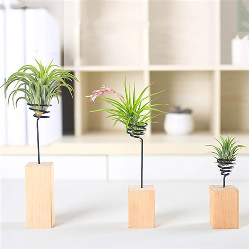 1 PC Metal Stretchable Air Plant Container Stand Tillandsia Plant Display Modern Tabletop Wooden Base Vase Holder Pot