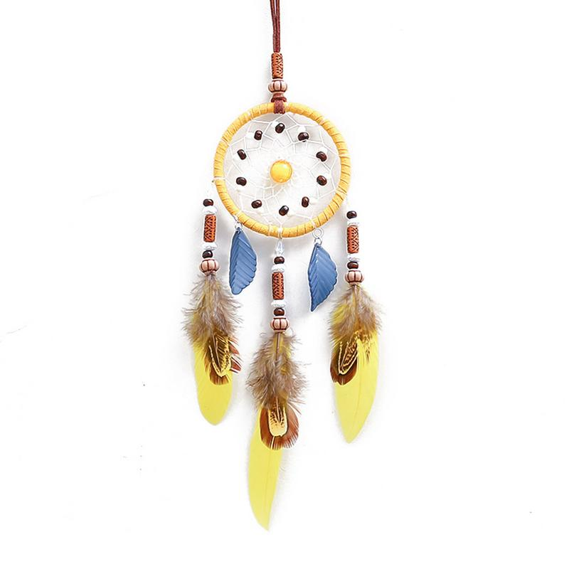 Handmade Yellow Dream Catcher Wind Chimes Indiana Style Feather Pendant Dreamcatcher Creative Car Hanging Decoration Accessories-in Ornaments from Automobiles & Motorcycles