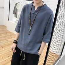 tshirt 2019 Summer China Wind Hot Sale Mens Wear V Single Buckle Design Short Sleeve streetwear tops Gray Free shipping