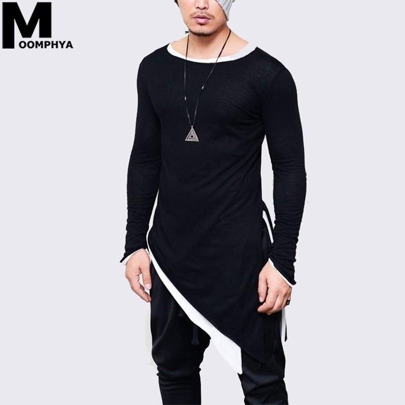 Moomphya 2019 New Irregular Longline hem long sleeve men   t     shirt   Streetwear hip hop   t  -  shirt   for men Stylish tshirt tee   shirt   men